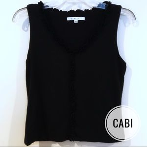 Cabi Black Ruffle Tank Top Gently Used Medium